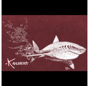 Camiseta bio tiburon buceador mujer